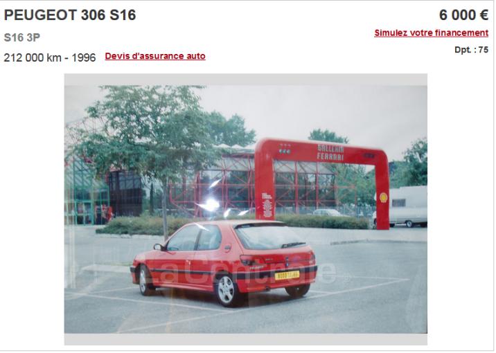 Voilà la cote minimale d'une 306 S16 en état concours. Crédits: lacentrale.fr